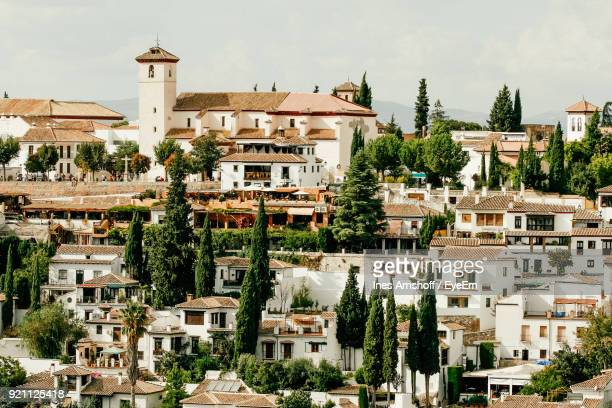 houses in town - granada stock photos and pictures