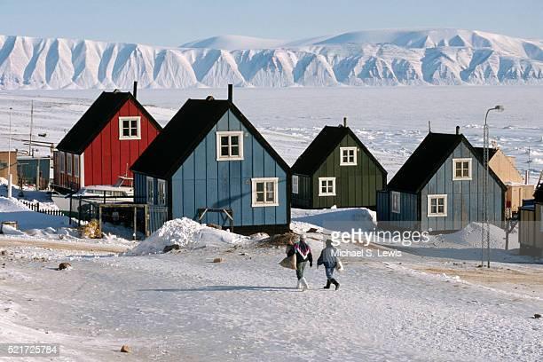 Houses in Village of Qaanaaq in Greenland