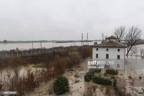 Houses invaded by water after the flooding of the Panaro River on December 06, 2020 in Modena, Italy.