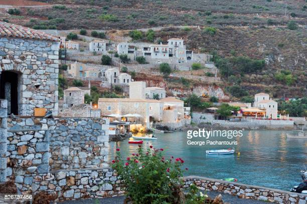 houses made from stone in the village of limeni, greece - peloponnese stock photos and pictures
