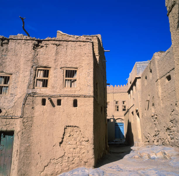 Houses made of clay in Al-Hamra, Oman