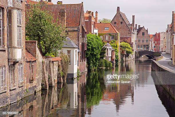 Houses near the water canal in Bruges, Belgium