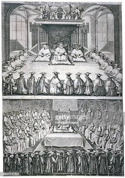 Houses of Convocation London c1623 Two views of the Houses of Convocation assembled in Westminster Abbey or possibly St Paul's Cathedral The upper...
