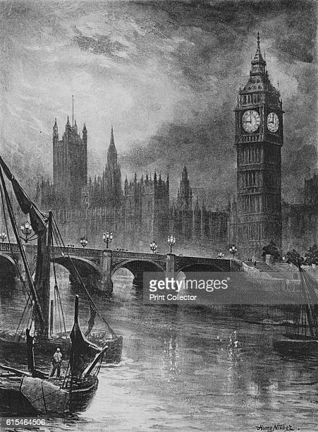 Houses of Parliament' 1890 From Picturesque London by Percy Fitzgerald [Ward Downey London 1890] Artist Hume Nisbet
