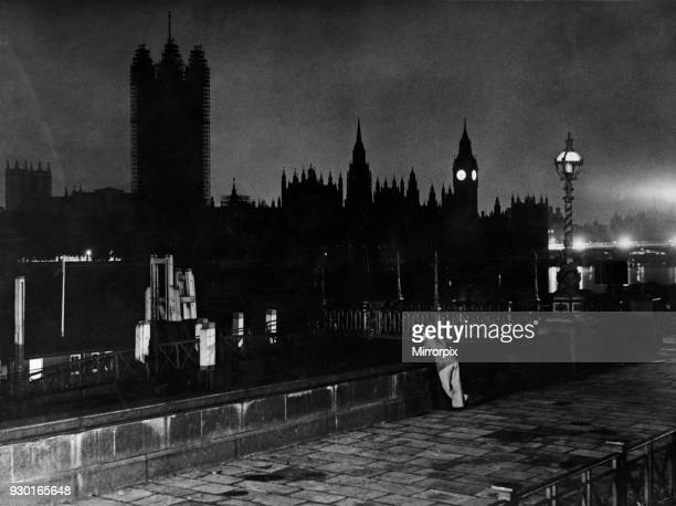 Houses of Parliament and the River Thames at night August 1938