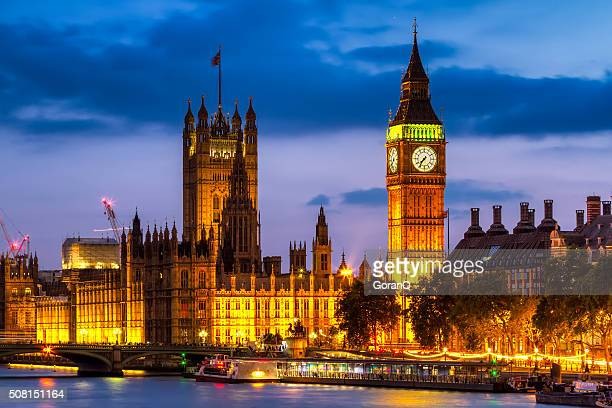 houses of parliament at night , westminster, london, uk - london england stock pictures, royalty-free photos & images