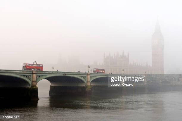 Houses of Parliament barely visible in the thick fog on March 13 2014 in London England Thick fog hit much of England and Wales this morning causing...
