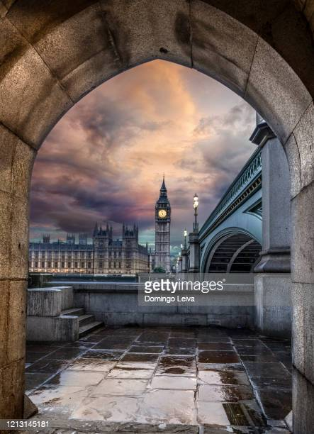 houses of parliament from westminster bridge in london, uk - arch stock pictures, royalty-free photos & images