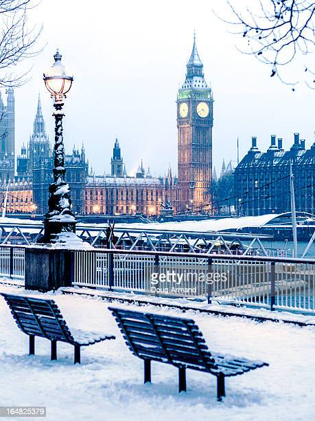 Houses of Parliament in the snow, London, UK