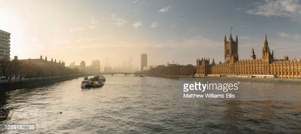 Houses of Parliament, the iconic old London building and tourist attraction landmark with beautiful sun light, shot in Coronavirus Covid-19 lockdown...