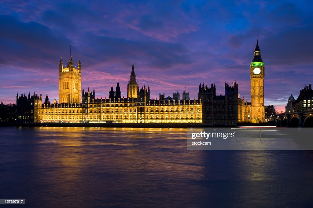 Houses of Parliament with Big Ben in London at dusk : Stock Photo