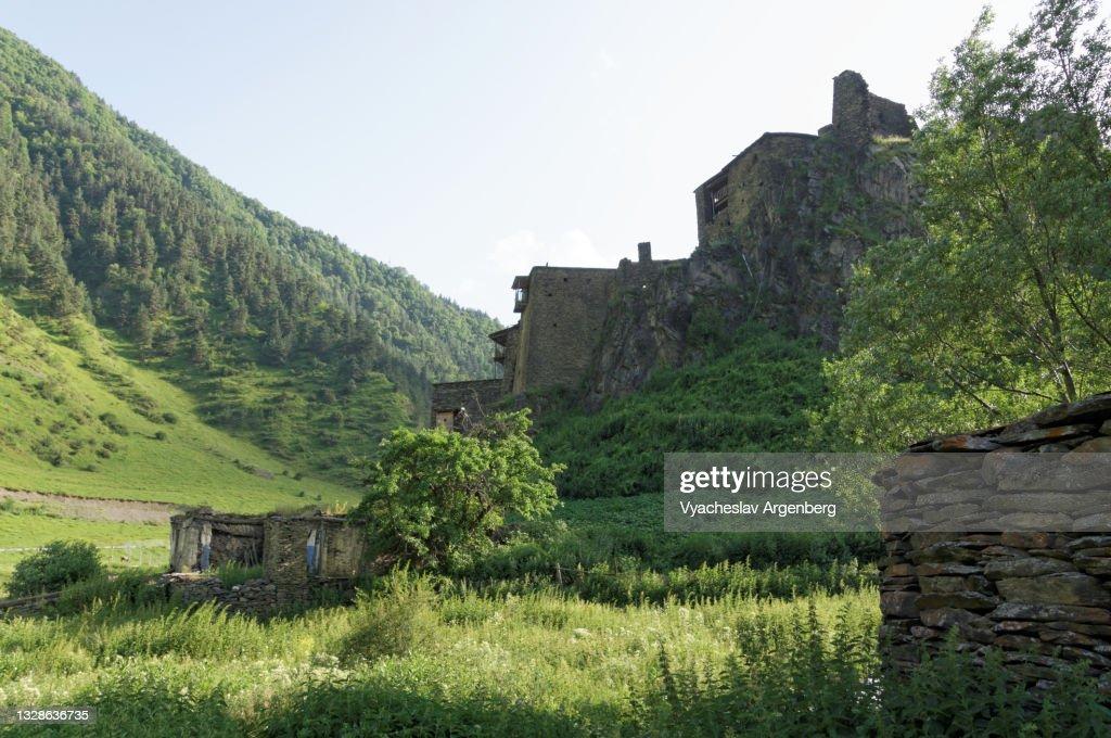 Houses of Shatili in the Shatili valley, Georgia : Stock Photo