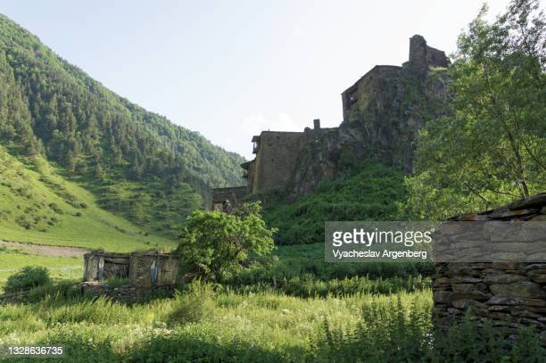 houses of shatili in the shatili valley, georgia - argenberg stock pictures, royalty-free photos & images