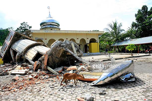 Houses of worship destroyed by the earthquake of 64 magnitude on December 7 2016 in Pidie Aceh Province Indonesia An undersea earthquake struck...