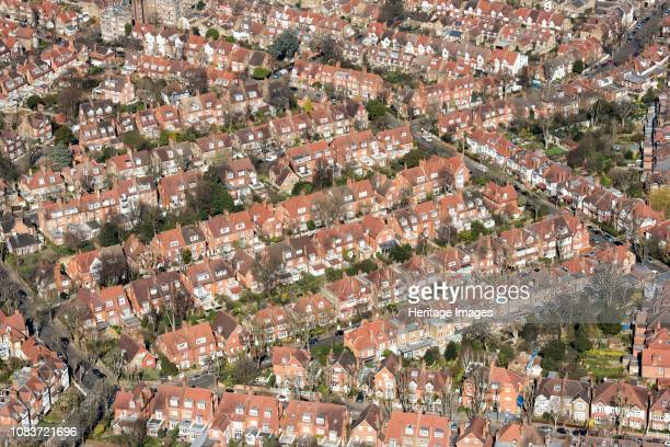 Houses on Bedford Park garden suburb London 2018 Bedford Park was built in the 1870s by property developer Jonathan Thomas Carr Artist Historic...