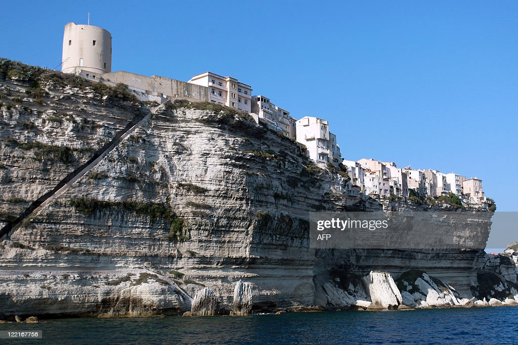 . Houses on cliffs are pictured in the city of Bonifacio  in the