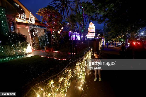 Houses on Franklin Road are lit with Christmas lights and decorations on December 14 2016 in Auckland New Zealand It is the 23rd year Franklin Road...