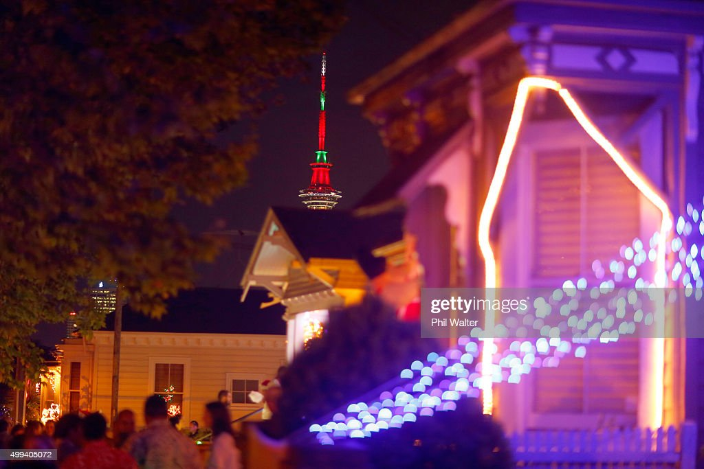 Houses on Franklin Road in Ponsonby are decorated in Christmas lights on December 1, 2015 in Auckland, New Zealand. It is the 22nd year Franklin Road residents have decorated their houses with lights for the Christmas season.
