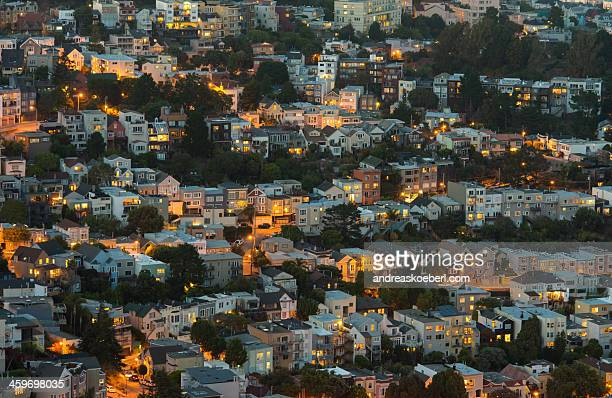 Houses on hillside in city of San Francisco