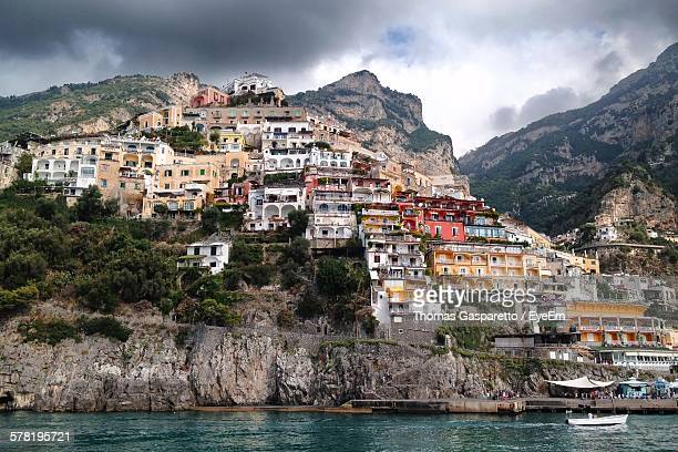 Houses On Rocky Mountain By Amalfi Coast