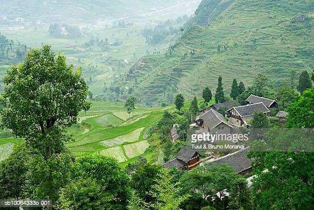 houses on side of hill, elevated view, qinghe village, guizhou province, china - province du guizhou photos et images de collection
