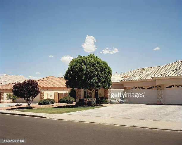 houses on street - suburban stock pictures, royalty-free photos & images
