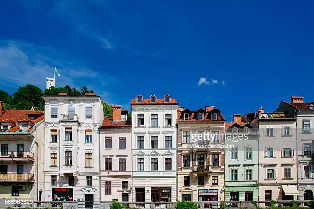 Houses on the bank of Ljubljana river, Slovenia
