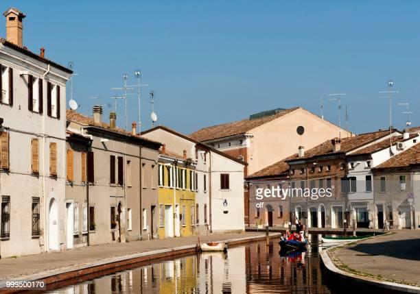 Houses on the canal, Via Agatopisto, Comacchio, Ferrara, Emilia Romagna, Italy