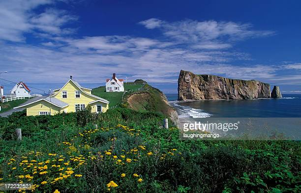 Houses on the coast of Perce, Quebec, Canada