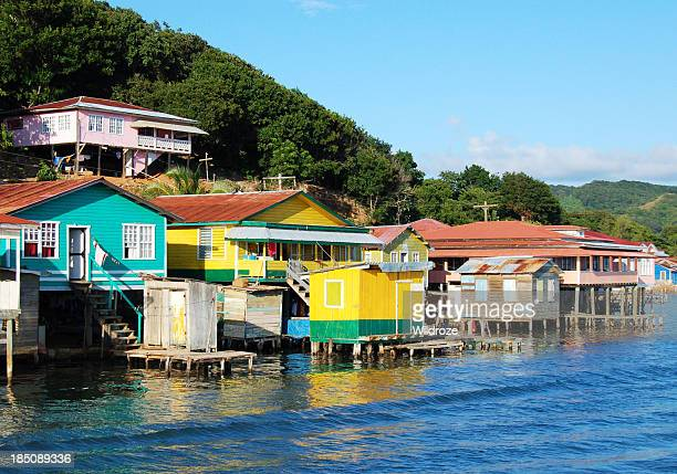 houses on the coast of roatan, honduras - honduras stock pictures, royalty-free photos & images