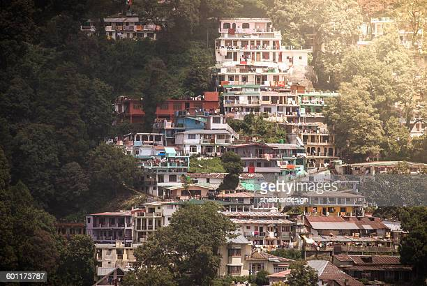houses on the mountain - haryana stock photos and pictures