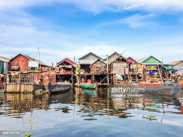 Houses on Tonle sap or Great Lake in Cambodia.