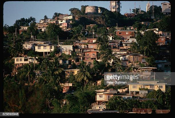 houses on trinidad hillside - port of spain stock pictures, royalty-free photos & images