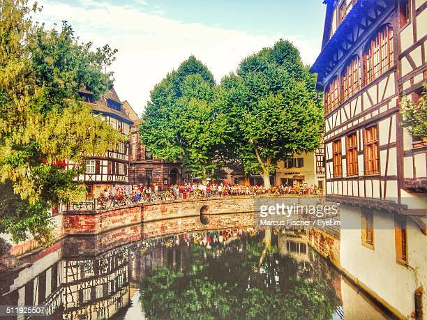 Houses reflected in the canal