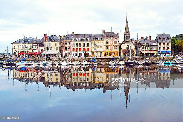 houses reflection in river, honfleur - calvados stock pictures, royalty-free photos & images