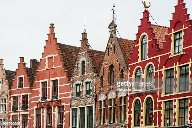 Houses rooftops at Market Place, Bruges, Belgium