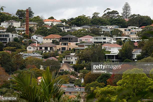Houses stand in the suburb of Bellevue Hill in Sydney Australia on Thursday June 18 2015 Surging home prices in cities including Sydney are unlikely...