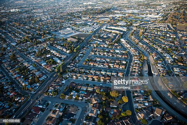 Houses stand in this aerial photograph taken above Alameda California US on Monday Oct 5 2015 With tech workers flooding San Francisco onebedroom...