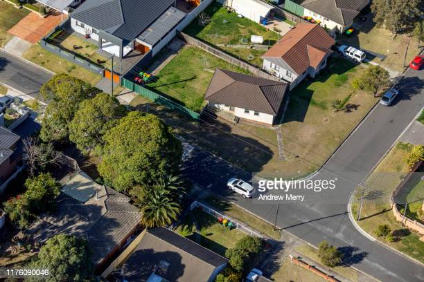 houses, streets, suburb, cityscape aerial photography, suburban life in sydney, australia - street stock pictures, royalty-free photos & images