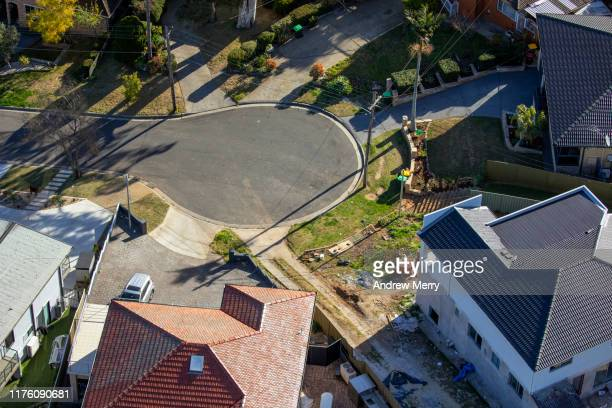 houses, streets, suburb, cityscape aerial photography, suburban life in sydney, australia - cul de sac stock pictures, royalty-free photos & images