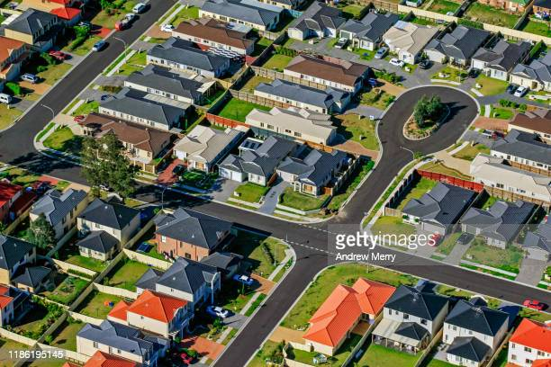 houses, streets, suburb on edge of city, urban sprawl in sydney, australia, aerial photography - urban sprawl stock pictures, royalty-free photos & images
