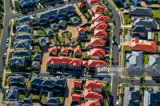 houses, streets, suburb on edge of city, urban sprawl in sydney, australia, aerial photography - housing difficulties stock pictures, royalty-free photos & images