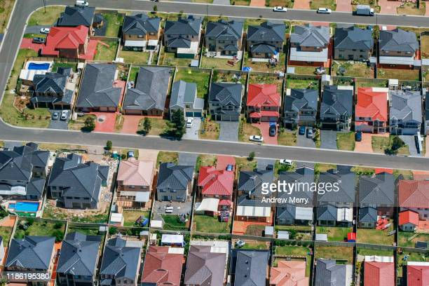 houses, streets, suburb on edge of city, urban sprawl in sydney, australia, aerial photography - housing development stock pictures, royalty-free photos & images