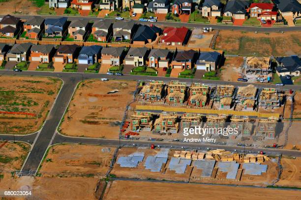 Houses under construction, Kellyville Ridge, North-West Sydney, Aerial Photography