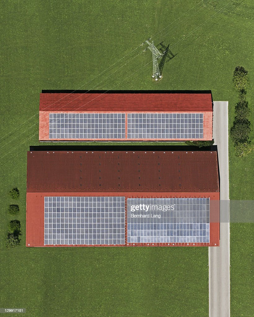 Houses With Solar Panels On The Roof Aerial View Stock