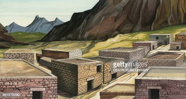 Houses without windows in a Doric village Greece drawing Dorian civilization 1000 BC