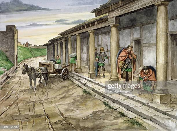 Housesteads Roman Fort 2nd century Housesteads Roman Fort Northumberland Reconstruction drawing of Barrack XIII in the 2nd century AD An auxiliary...