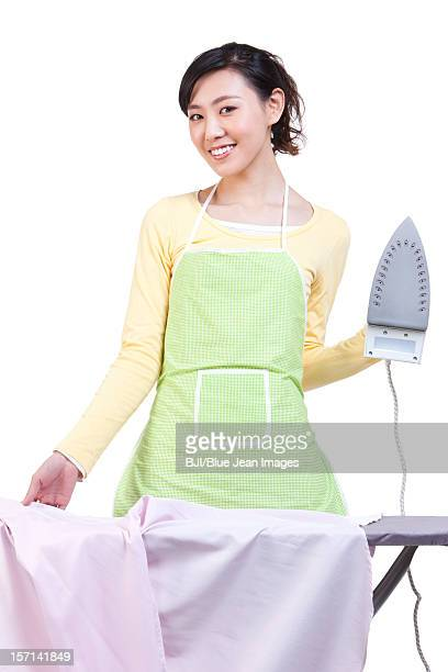Housewife doing ironing