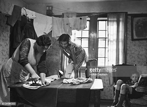 Housewife Ironing During Wartime