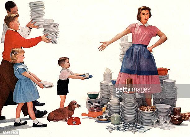 housewife overwhelmed by the dishes to wash up picture for advertising for Lux washing liquid published in american magazine 1956